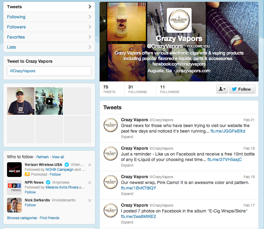 Crazy Vapors Twitter page
